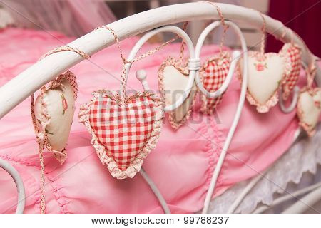 Hearts Of Fabric On The Headboard