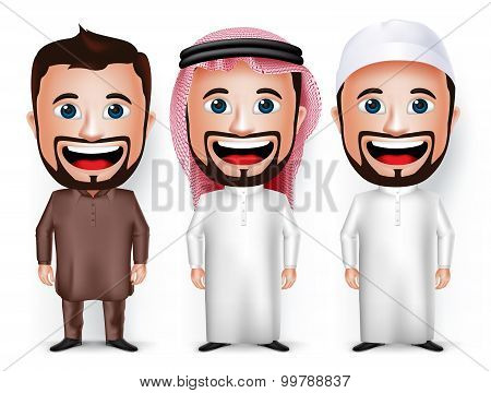 Set of 3D Realistic Cartoon Character Dress for Saudi Arabian and Pakistani