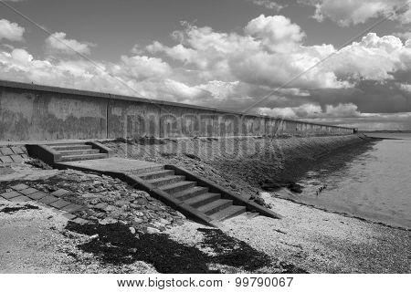 Sea Wall At Thorney Bay, Canvey Island, Essex, England