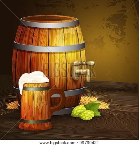 Beer oak mug barrel background banner
