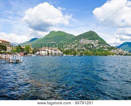 View of Lake Lugano Switzerland