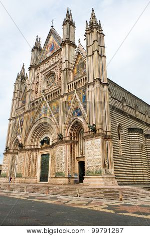 View of the cathedral of Orvieto Umbria Italy