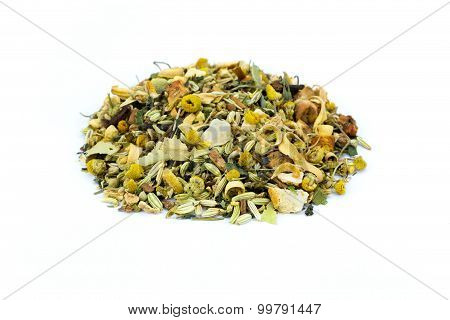 Heap Of Loose Mixture Of Herbal Tea On White Background