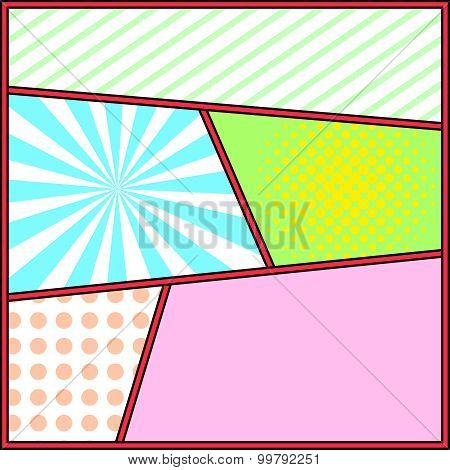 Pop art frame comics background page template