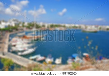 Greece. Dodecanesse. Island Kos. Kos Town. Harbor. In Blur Style