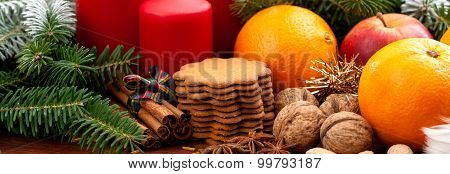 Candles, Fruits, Cookies And Nuts