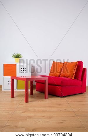 Table And Comfortable Double Sofa