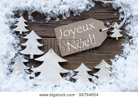 Label Trees Snow Joyeux Noel Mean Merry Christmas