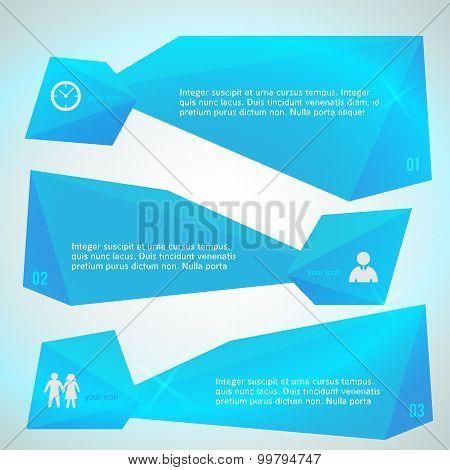 Horizontal Banner Blue Triangles Surround Effect