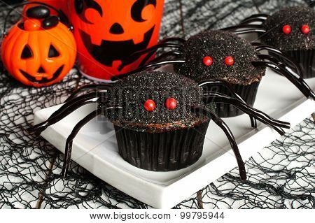 Halloween spider cupcakes with decor