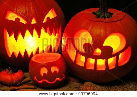 Spooky Halloween Jack o Lanterns at night