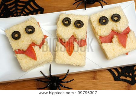 Halloween monster sandwiches