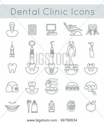 Dental Clinic Services Flat Thin Line Icons
