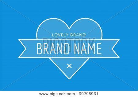 Hipster modern heart thin style  logo