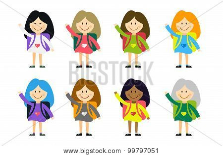 Cute vector cartoon girls from different countries playing on white