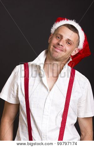 funny christmas man over black background