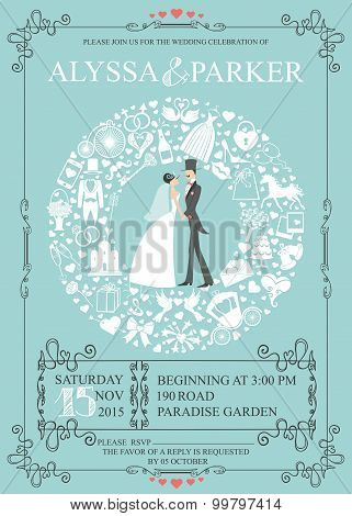Wedding invitation with wreath composition.Bride,groom,icons
