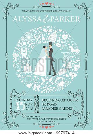 Wedding invitation with wreath composition.Bride,groom,icons