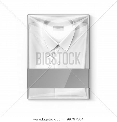 White classic men shirt with label in transparent packaging box
