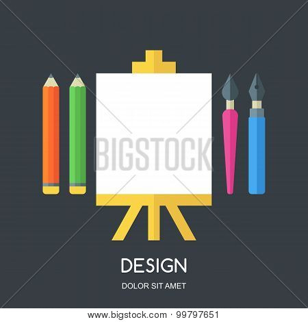 Creative Flat Illustration Of Tools And Art Supplies For Design, Drawing, Painting. Vector Icon Set