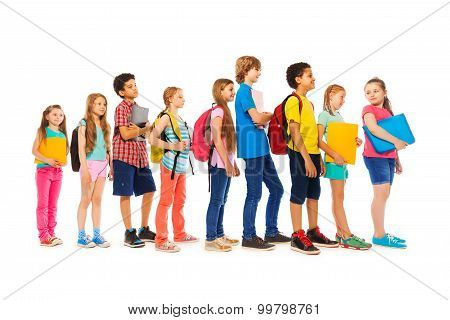 Group of kids in a line side view