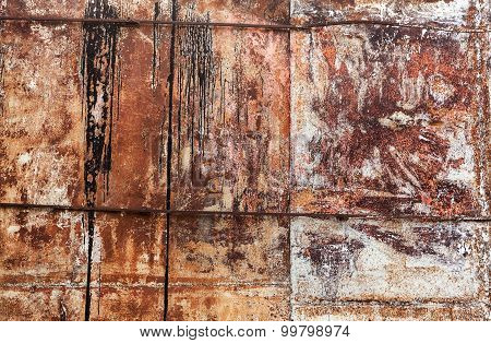 Old Grunge Metal Wall With Rust. Background Texture