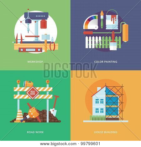 Vector constructing, industry of building and development set for web design and mobile apps. Illust