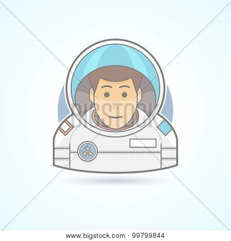 Astronaut, spaceman, cosmonaut icon. Avatar and person illustration. Flat colored outlined style.