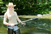 image of fisherwomen  - young woman fishing in river at summer day - JPG