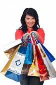 Smiling Woman Hold Many Shopping Bags