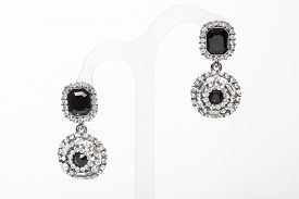 picture of lapis lazuli  - earrings with black stones on the white background - JPG