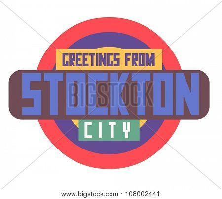 Stockton beautiful city to visit. vector cartoon