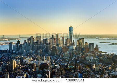 Specular Skyline View Of New York