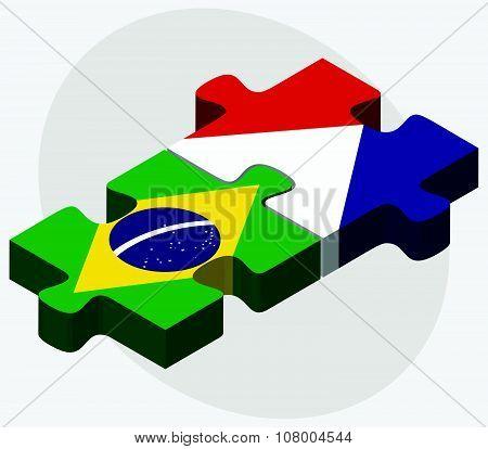 Brazil And Sint Maarten Flags