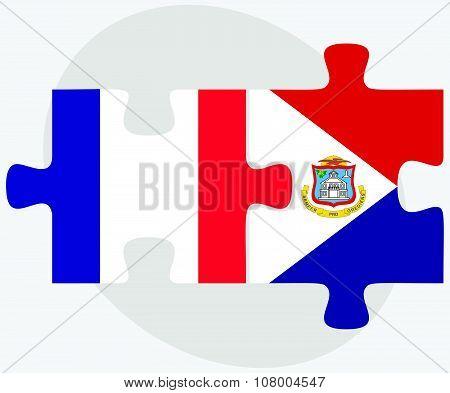 France And Sint Maarten Flags