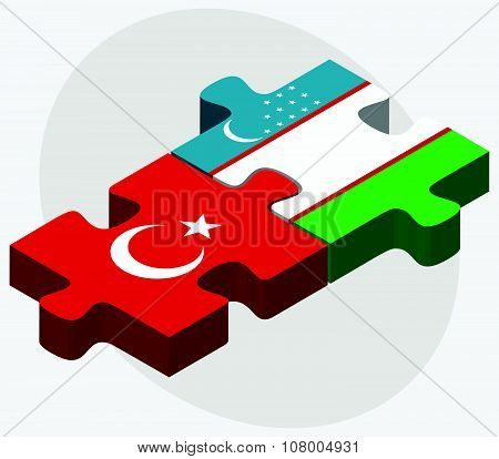 Turkey And Uzbekistan Flags