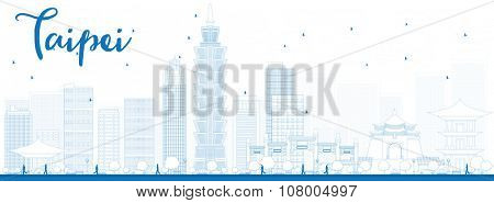 Outline Taipei skyline with blue landmarks. Business travel and tourism concept with modern buildings. Image for presentation, banner, placard and web site.