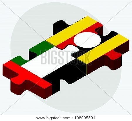 United Arab Emirates And Uganda Flags