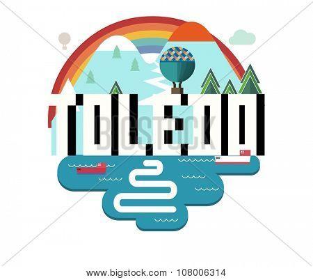 Toledo Ohio beautiful city to visit. vector cartoon