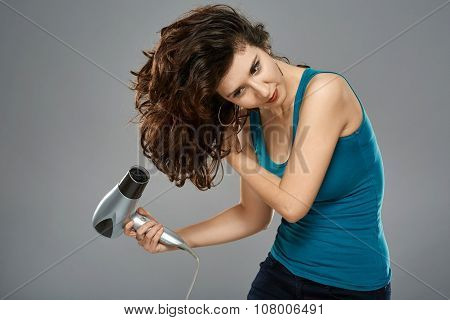 Woman With Hairdryer, Studio Shot