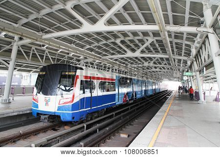BTS Skytrain at a station in the city in Bangkok