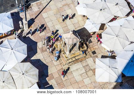 aerial view of the Piazza delle Erbe with unidentified people in Verona