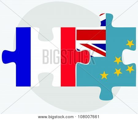 France And Tuvalu Flags