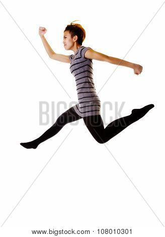 Skinny Asian American Woman Jumping In Knit Dress