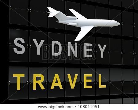 3D Australia Airport Departures. Travel To Sydney