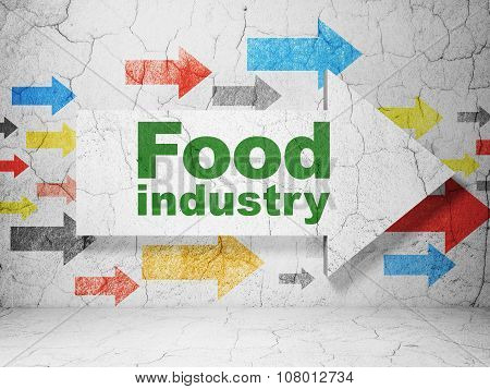 Manufacuring concept: arrow with Food Industry on grunge wall background