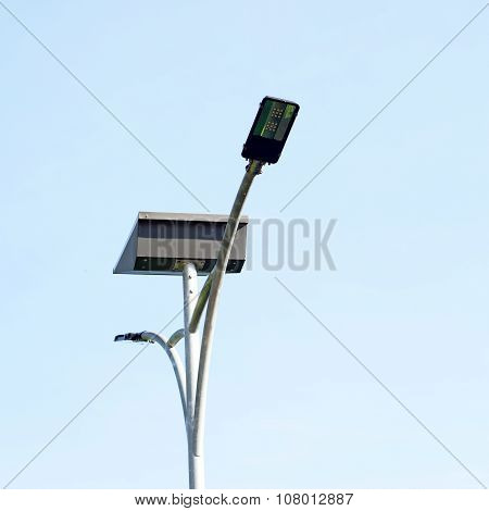 Led Light Post With Solar Cell Panel