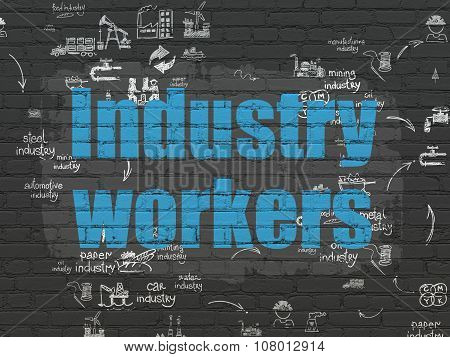 Manufacuring concept: Industry Workers on wall background