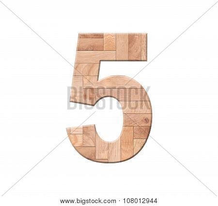 Wooden Parquet Of Digit One Symbol - 5. Isolated On White Background