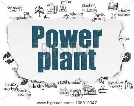 Manufacuring concept: Power Plant on Torn Paper background